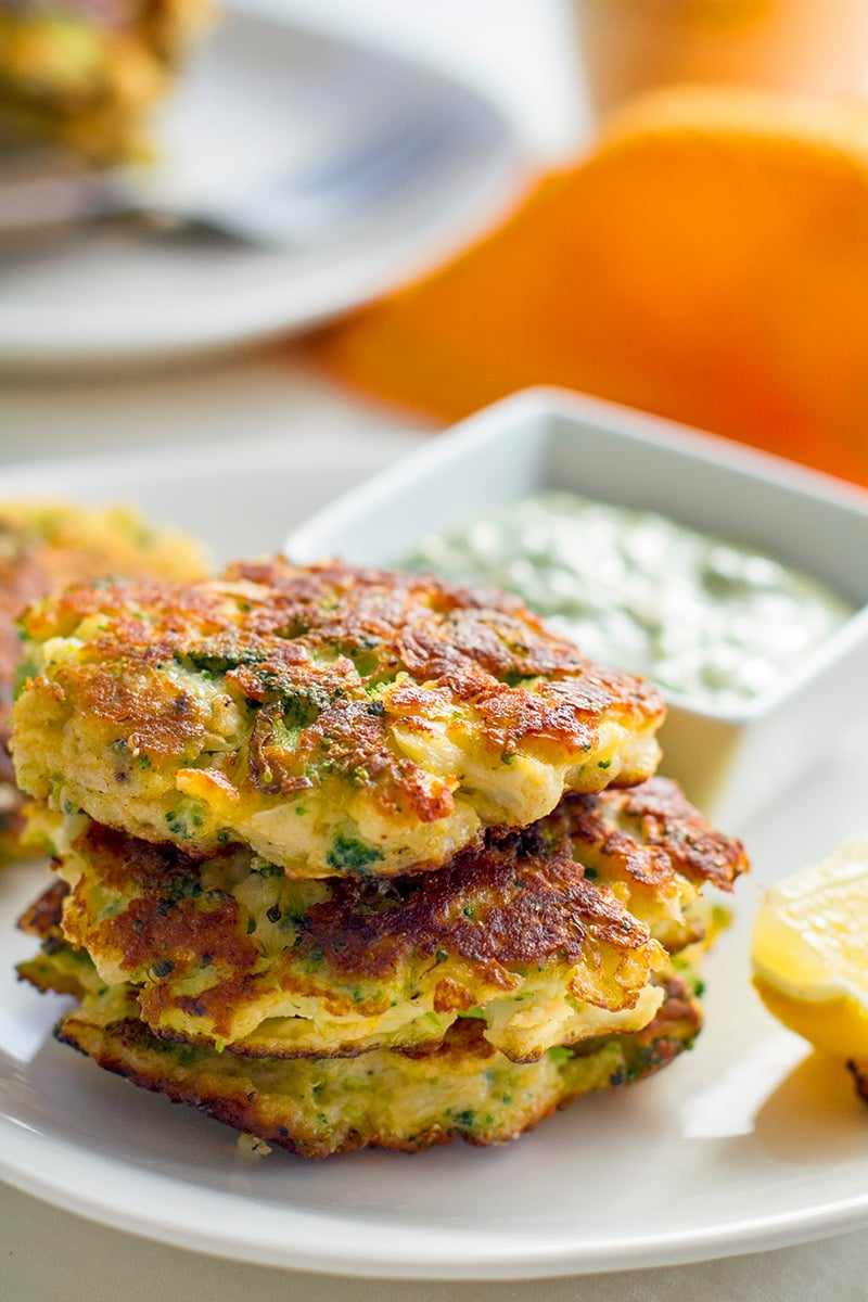 Cauliflower Fritters With Halloumi & Broccoli (Gluten-Free, Low Carb)