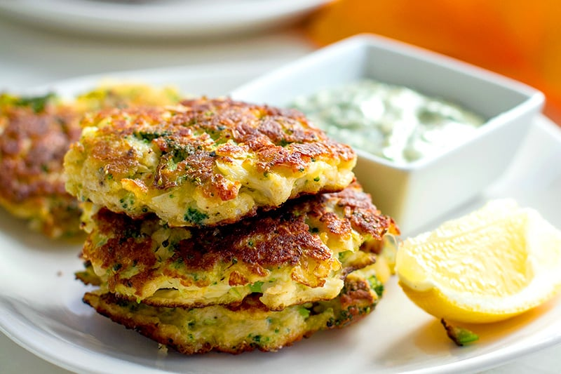 Broccoli & Cauliflower Halloumi Fritters (Gluten-Free, Low Carb)