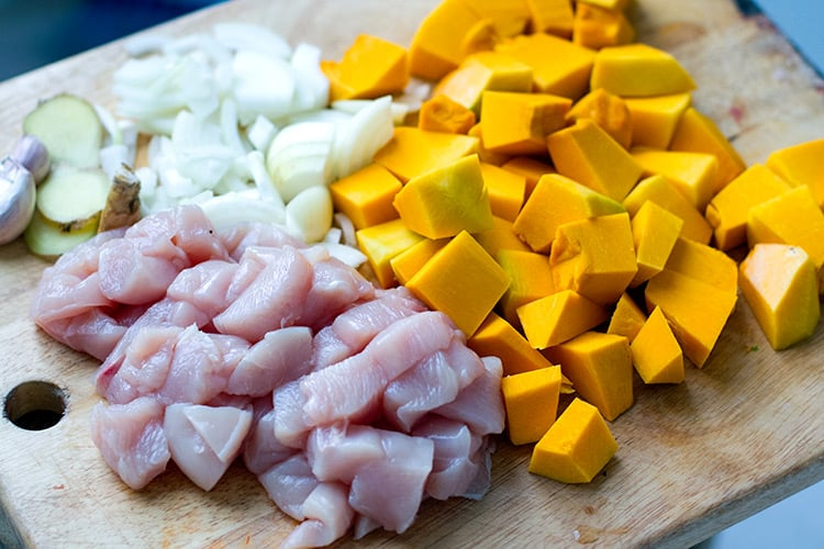 Diced kabocha squash, chicken, onions and ginger