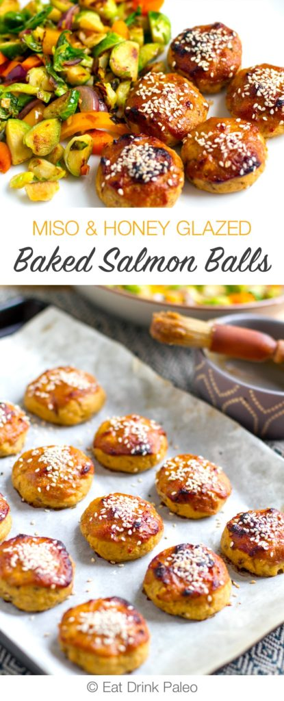 Baked Salmon Balls With Miso & Honey Glaze - paleo, low-carb, gluten-free.