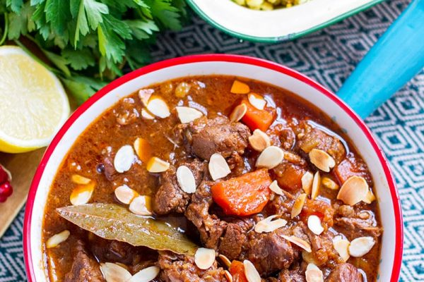 Moroccan lamb casserole, slow cooker recipe
