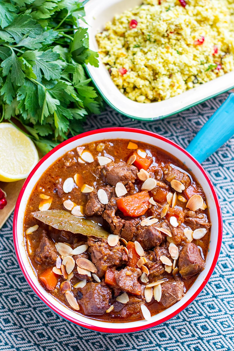 Moroccan lamb casserole, slow cooker recipe