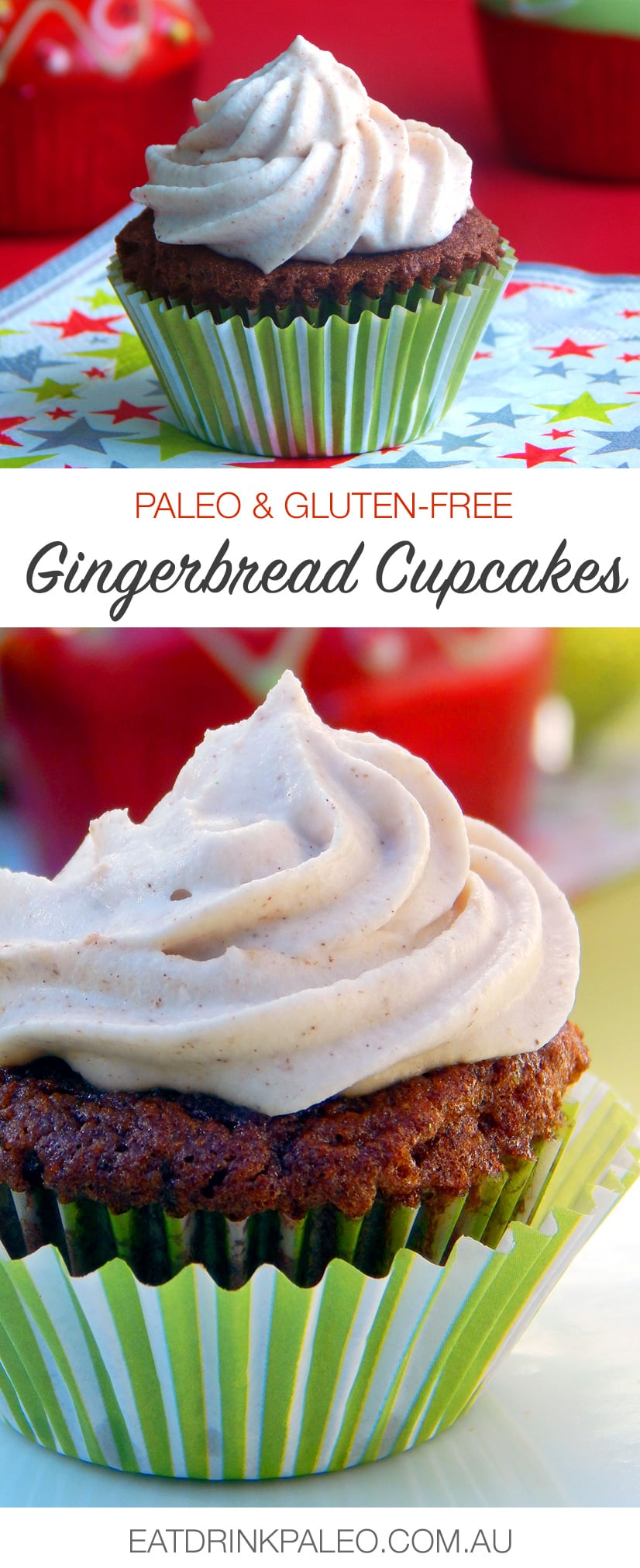 Paleo Gingerbread Cupcakes (Nut-free, gluten-free recipe)