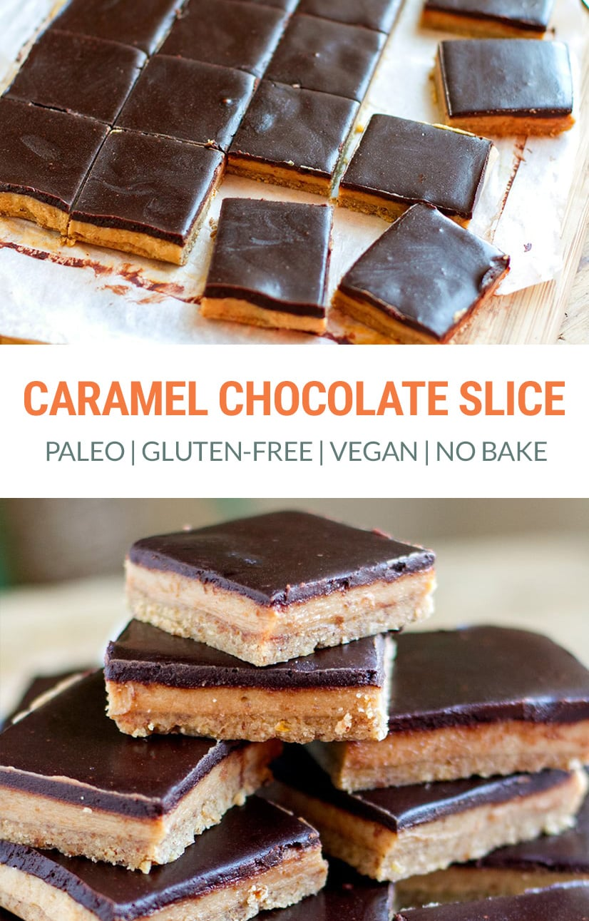 No-Bake Paleo Chocolate Caramel Slice