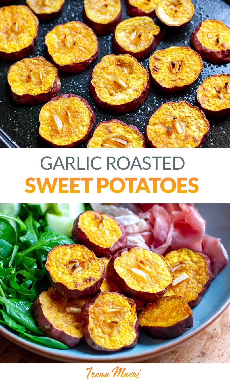 The BEST Garlic Roasted Sweet Potatoes