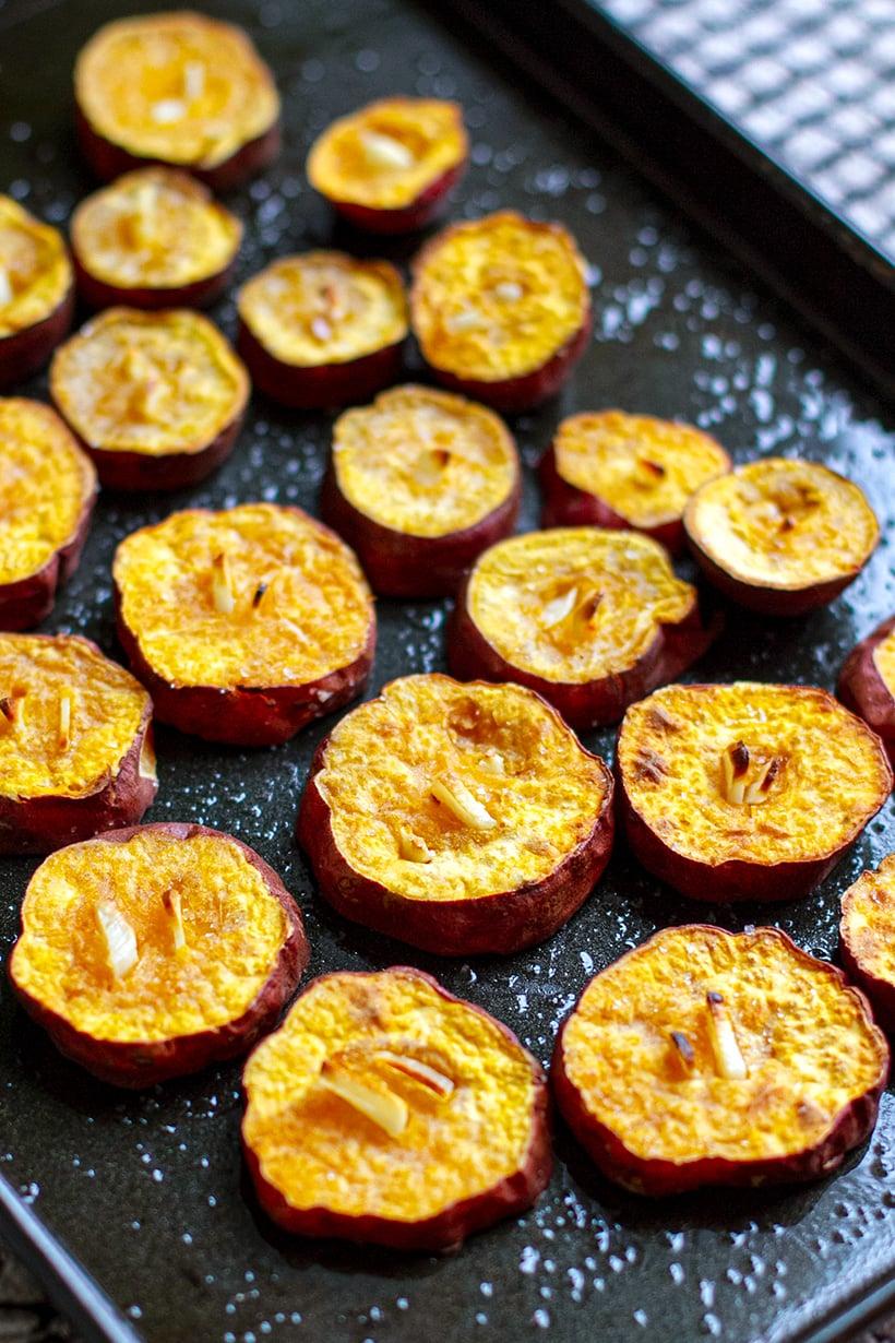 Roasted Garlic Sweet Potatoes Recipe
