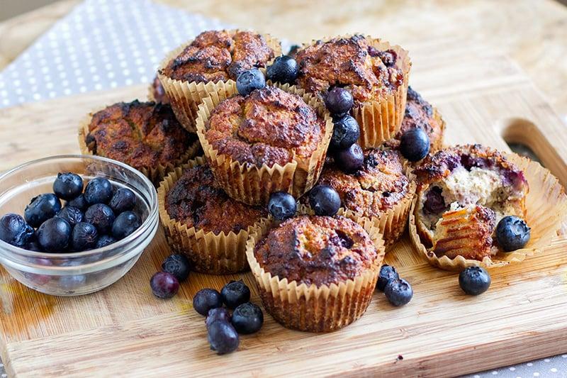 Healthy Banana Muffins With Blueberries (Paleo, Gluten-free)