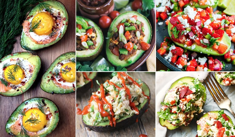 Stuffed avocado salads