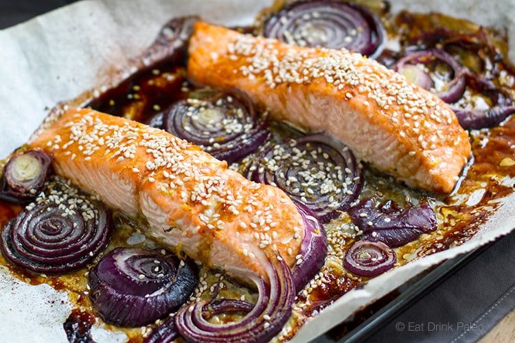 Paleo Teriyaki Salmon Baked With Onions & Sesame Seeds