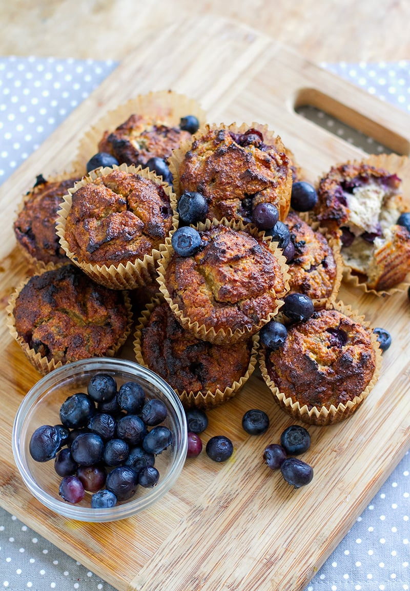 Healthy Paleo Blueberry Banana Muffins
