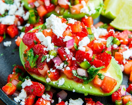 Strawberry Salsa Stuffed Avocados