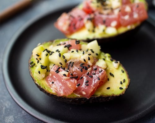 Tuna poke stuffed avocados