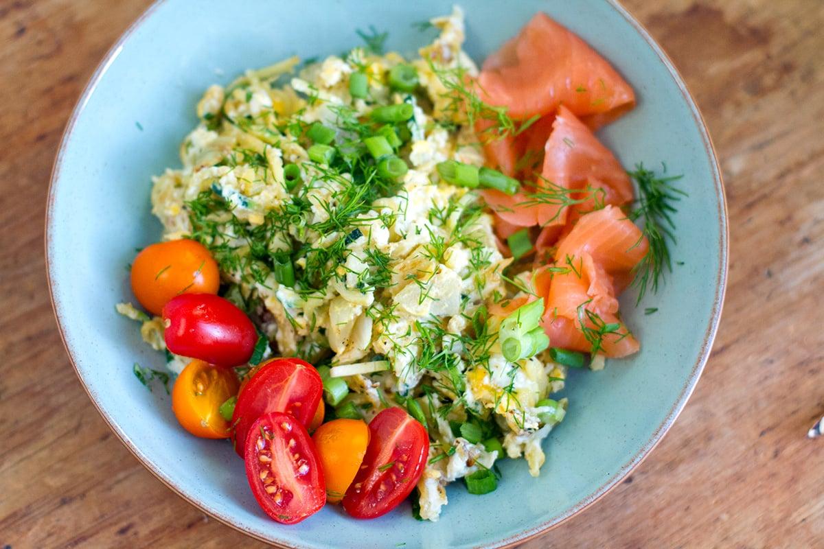 egg zucchini scramble with smoked salmon