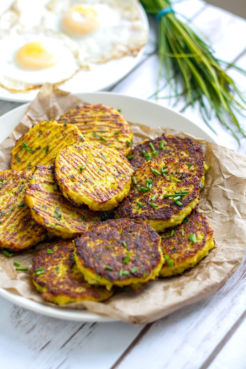 Cauliflower Hash Browns (Low-Carb, Paleo, Gluten-free, Grain-free, Nut-free)