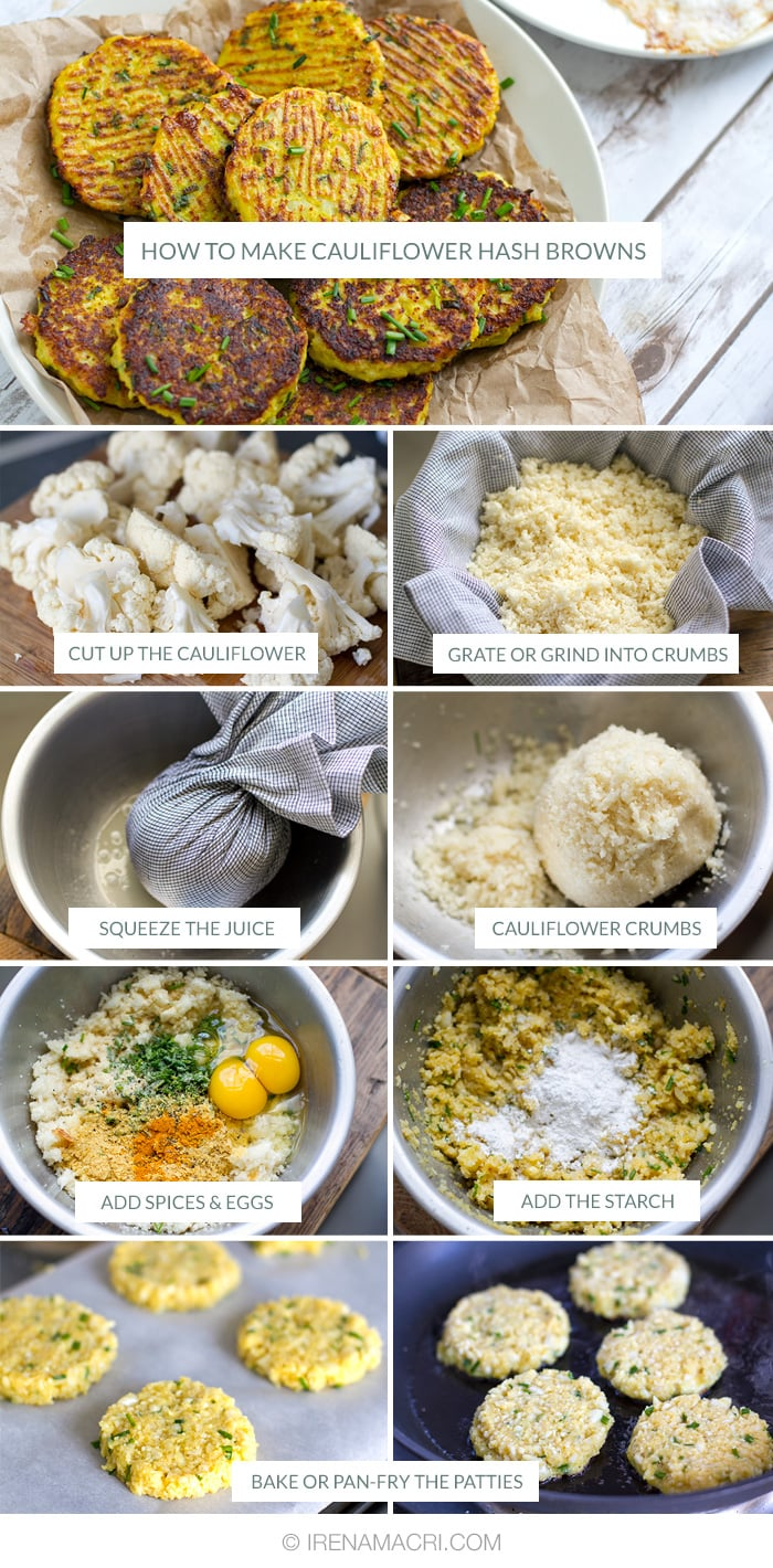 How to make cauliflower hash browns step-by-step