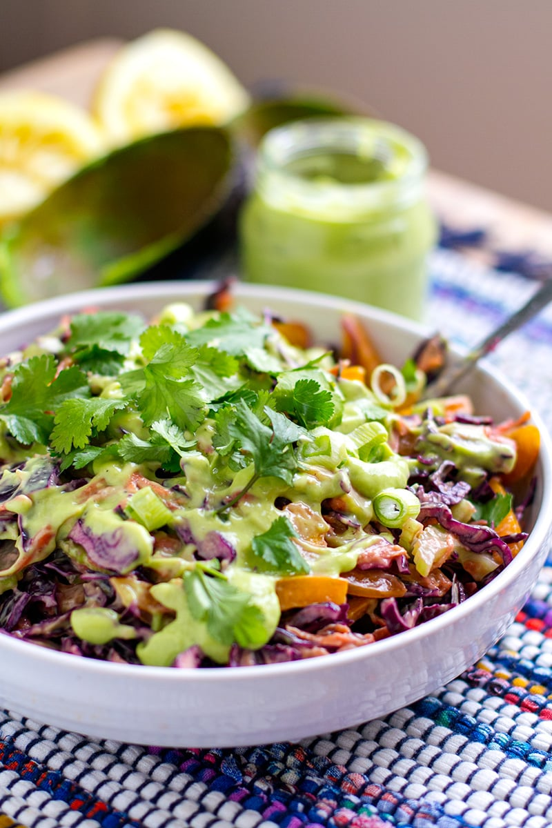 Red Cabbage Slaw With Creamy Avocado Dressing & Cilantro