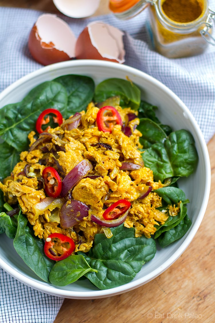 Curry Scrambled Eggs With Red Onion & Spinach