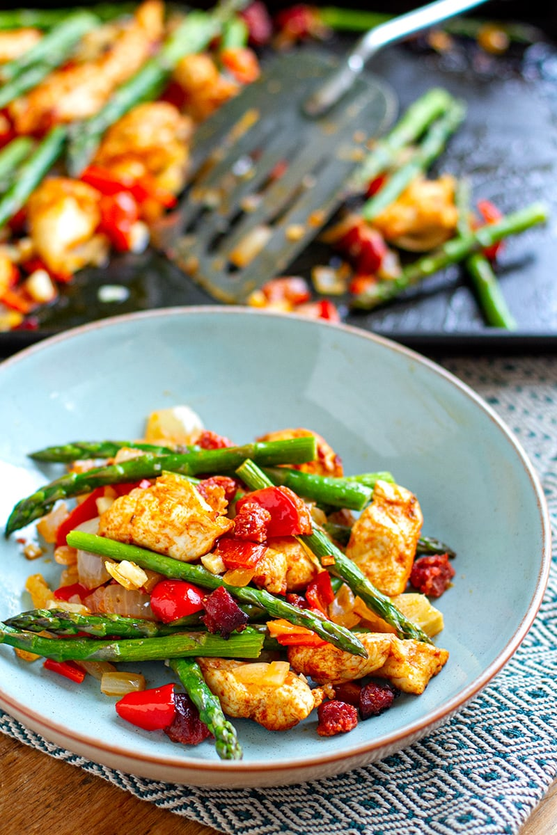 Chicken Chorizo Bake With Asparagus