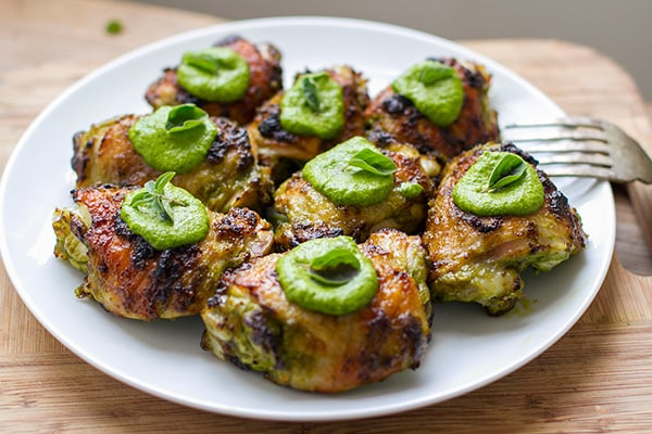 Baked chicken thighs with green sauce