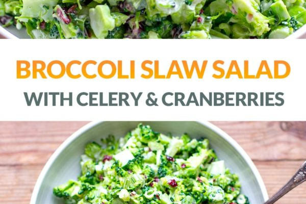 Broccoli Slaw Salad With Cranberries & Celery (Paleo, Gluten-Free)