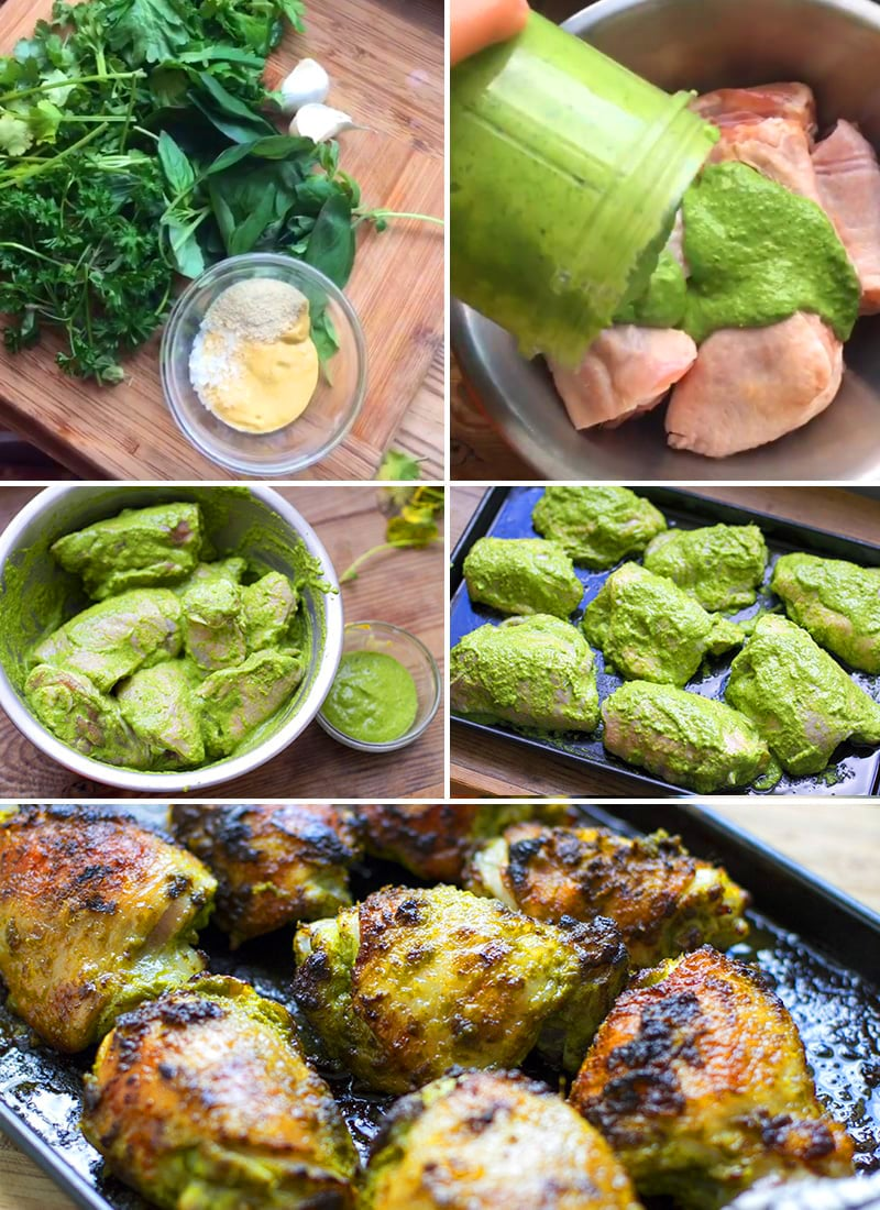 How to make baked chicken with green sauce