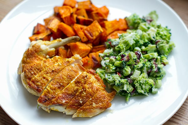 Crispy Skin Chicken With Sweet Potatoes & Broccoli Salad