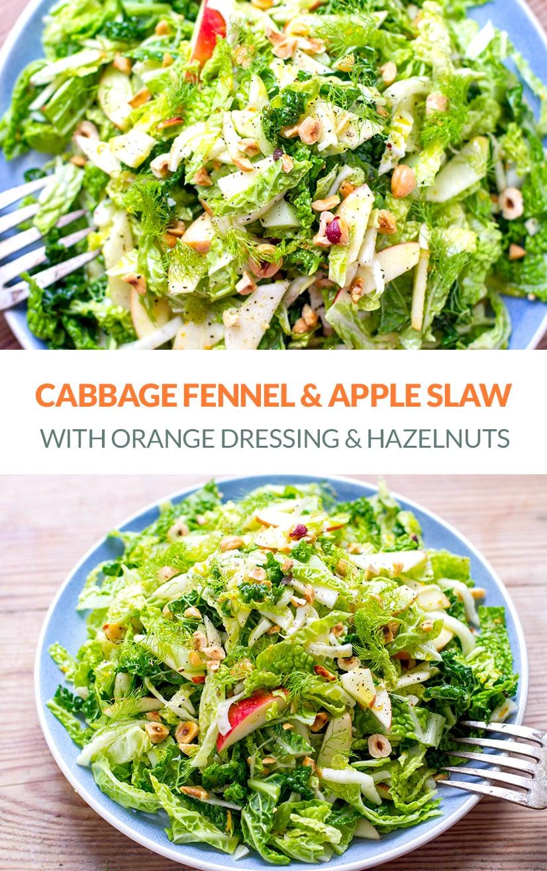 Cabbage Fennel & Apple Slaw Salad With Orange & Hazelnut (Paleo, Gluten-Free, Vegan, Vegetarian)