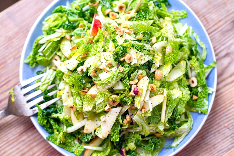 Cabbage Apple Fennel Slaw With Orange Dressing & Hazelnuts