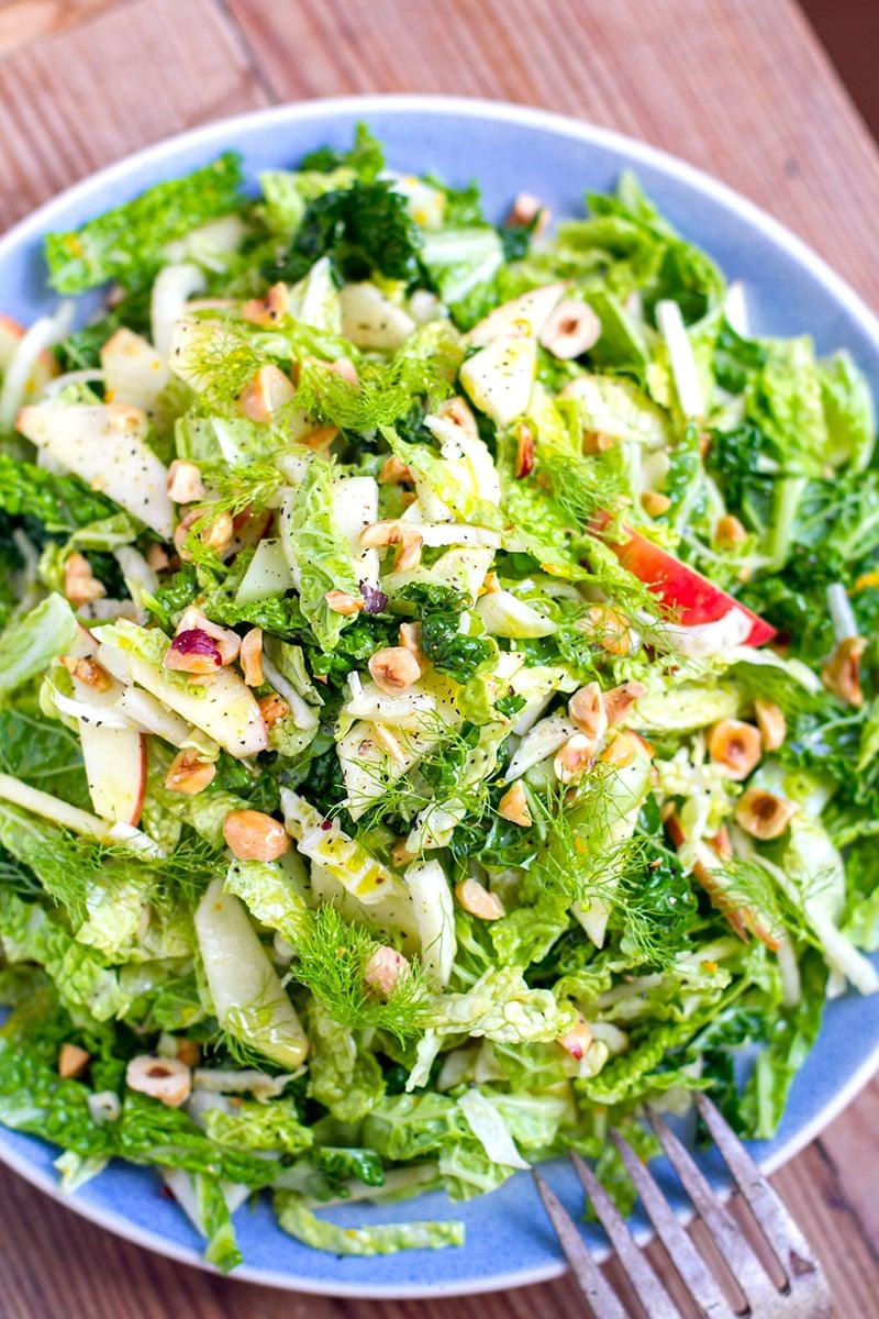 Cabbage Fennel & Apple Slaw Salad With Orange & Hazelnut