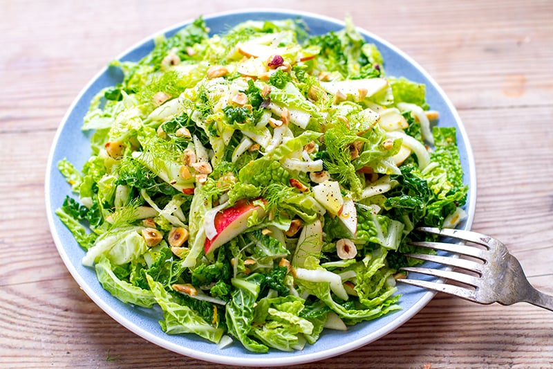 Cabbage Fennel & Apple Slaw With Orange Hazelnut Dressing