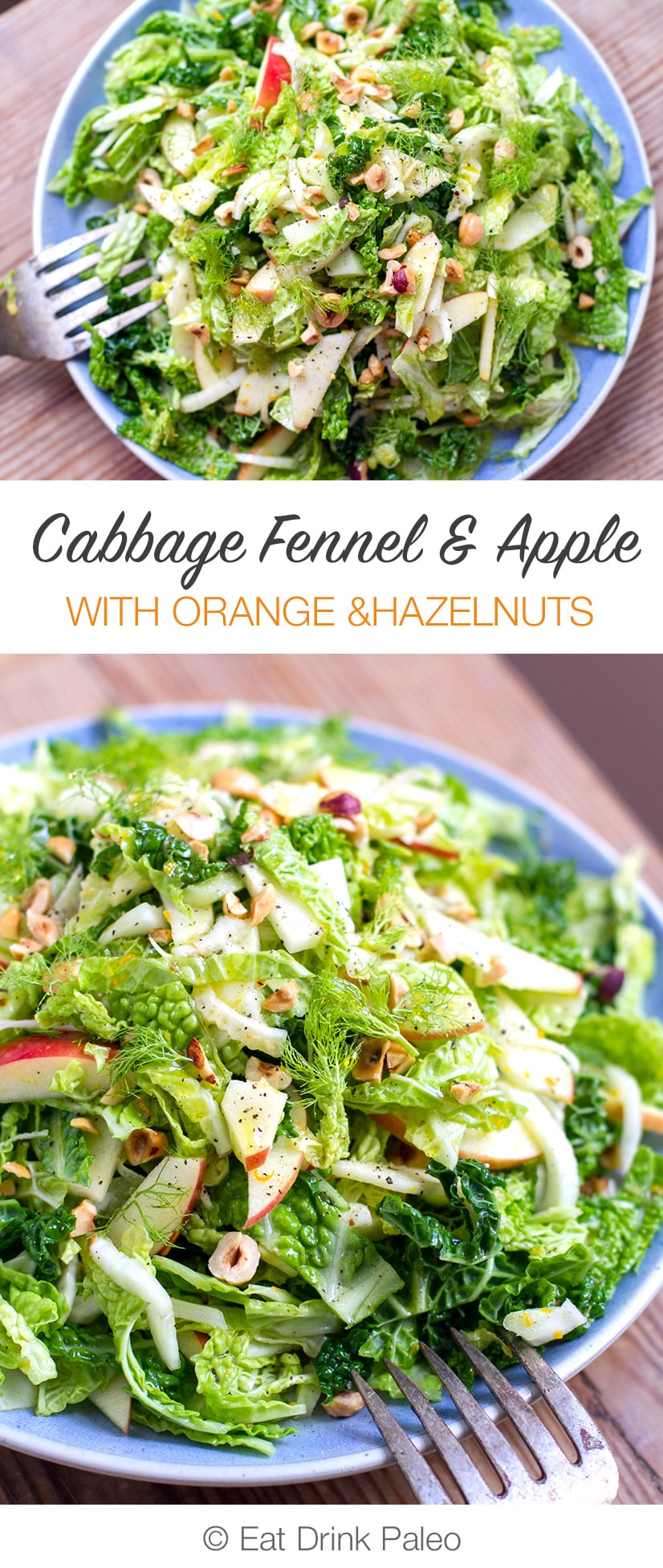 Cabbage Fennel & Apple Slaw Salad With Orange & Hazelnut (Paleo, Gluten-Free, Vegan, Vegetarian)