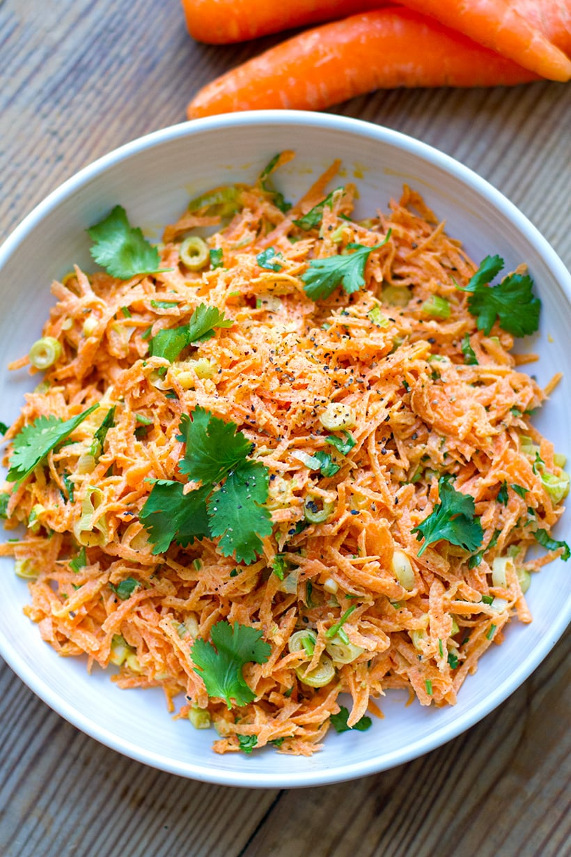 Carrot slaw salad with coriander and creamy mayo dressing