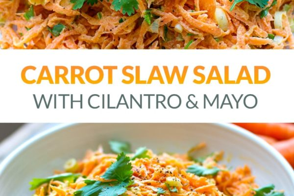 Carrot Slaw Salad With Cilantro & Mayo Dressing