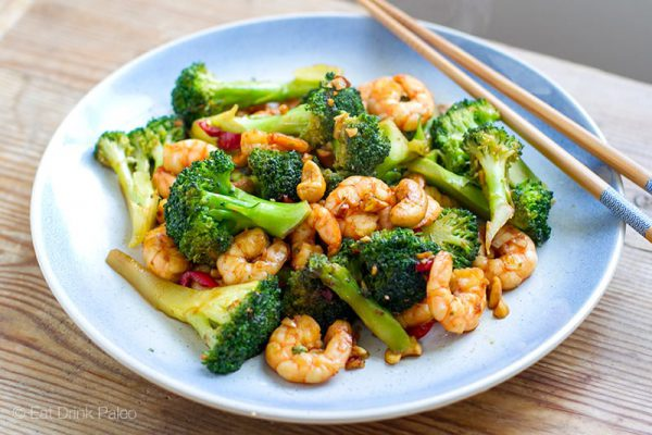 Paleo Shrimp Stir Fry With Broccoli & Cashew Nuts