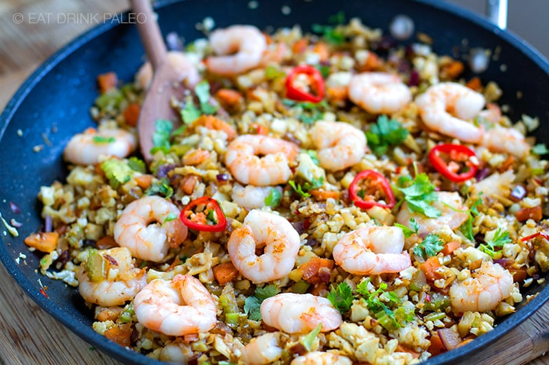 Cauliflower Shrimp Fried Rice Recipe (Paleo, Whole30, Keto)