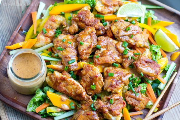 Paleo Bang Bang Chicken With Mango Cucumber Salad