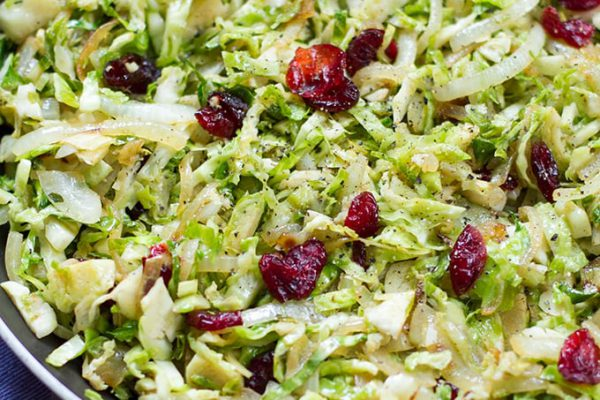 Brussels Sprouts With Cranberries & Garlic (Paleo, Vegetarian)
