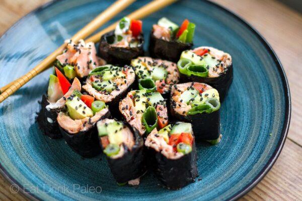 Paleo Sushi Nori Rolls With Salmon & Avocado