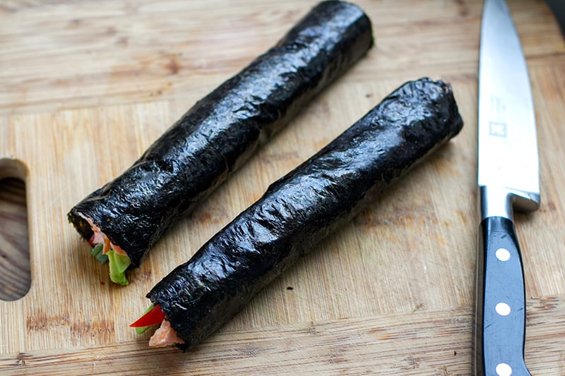 Nori Rolls With Salmon & Avocado (Paleo, Low-Carb, Gluten-Free)