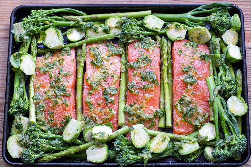 Green & Lean Salmon Sheet Pan Bake