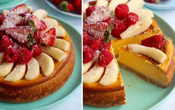 healthy baked pumpkin cheesecake