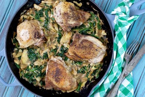 Paleo spinach chicken skillet