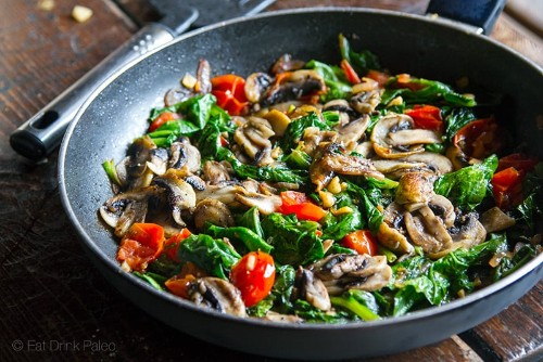 Paleo spinach and mushroom fry up