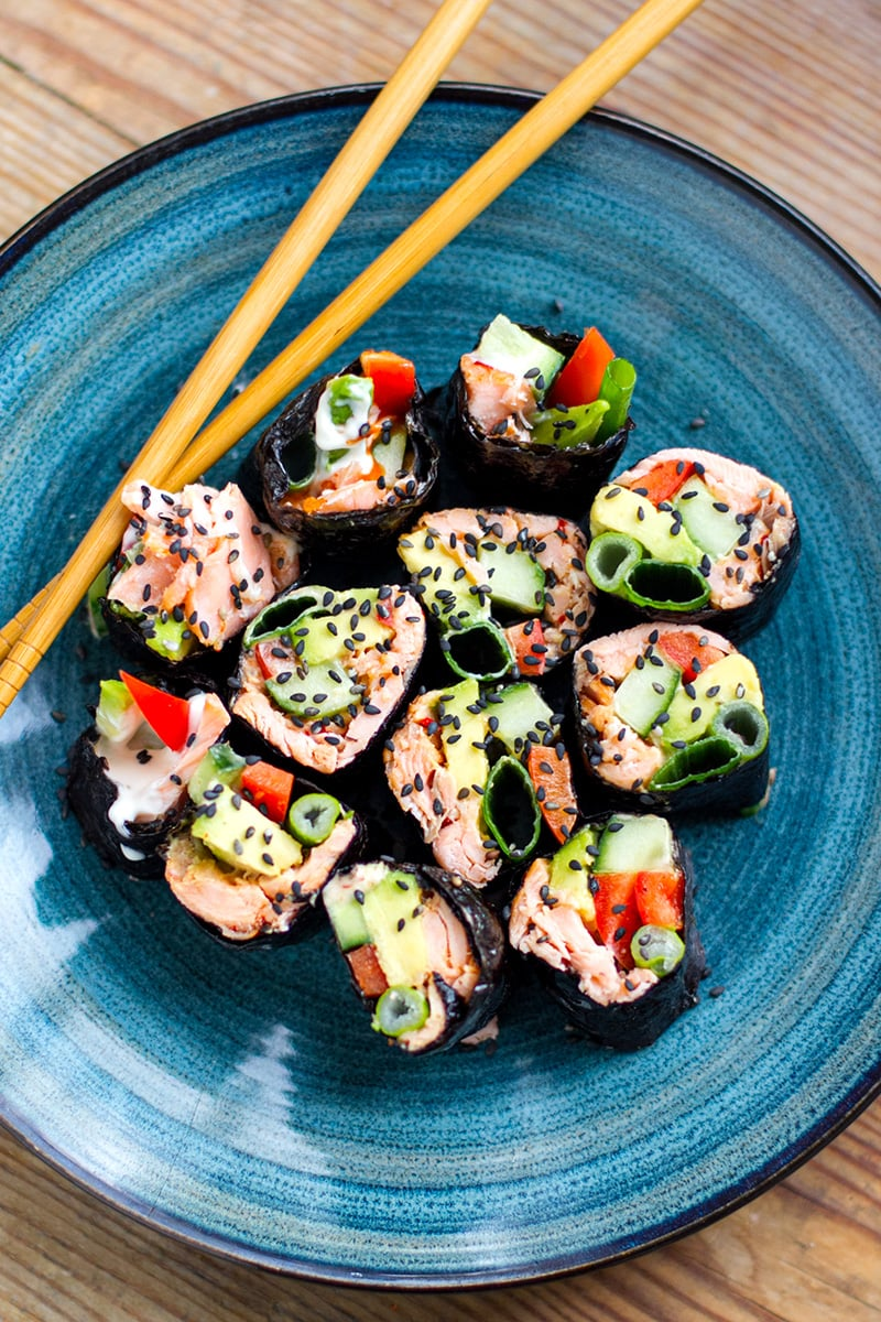 Nori Rolls With Salmon & Avocado (Paleo, Low-Carb, Gluten-Free, Whole30)