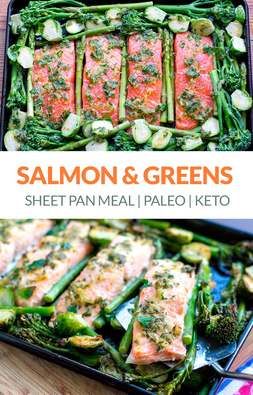 Sheet Pan Salmon & Green Vegetables Bake