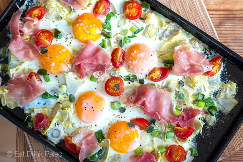 Italian Sheet Pan Eggs With Artichokes & Prosciutto