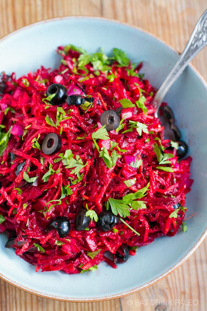 Beet & Olive Slaw Salad (Paleo, Whole30, Vegan)