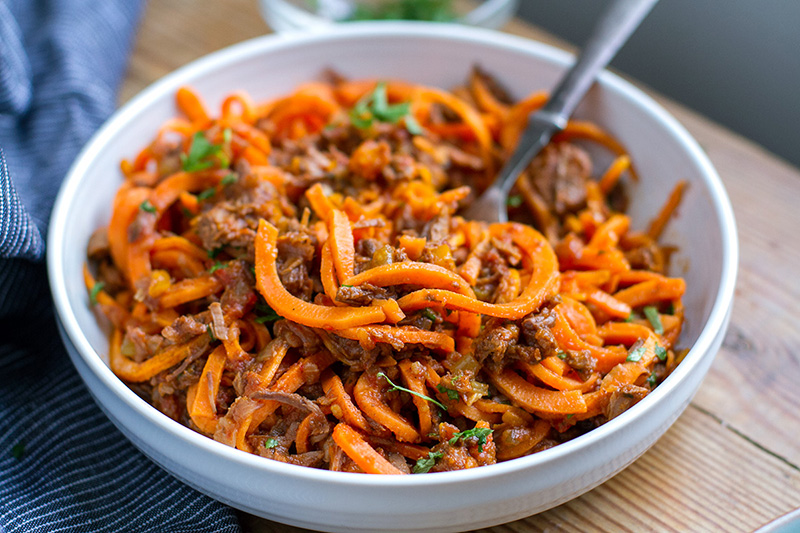 Shredded Beef Ragu With Sweet Potato Noodles
