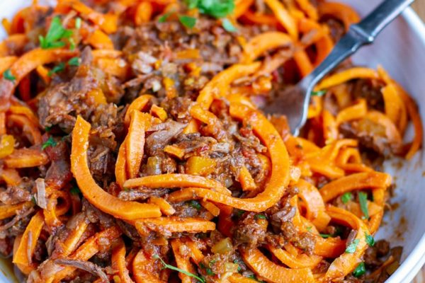Beef Ragu With Roasted Sweet Potato Noodles (Whole30, Paleo)
