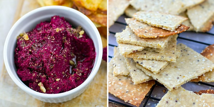 Paleo Starters - beetroot dip and paleo crackers
